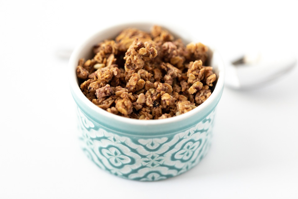 Granola in Bowl with Spoon